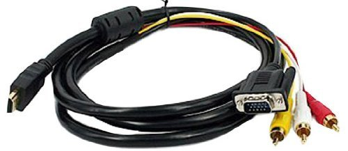 3 RCA + VGA Cable M/M 1.8m/6ft by NYKKOLA