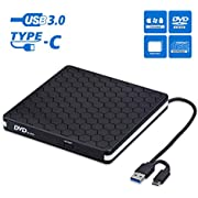External CD DVD Drive, Cocopa Type-C USB 3.0 Slim Portable CD/DVD-RW Burner Reader Low Noise High Speed Data Transfer Super drive for Laptop, Desktop, Mac, IOS, Windows 10/8/7 / XP/Linux