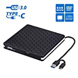 External CD DVD Drive, Cocopa Type-C USB 3.0 Slim Portable CD/DVD-RW Burner Reader