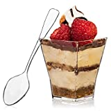 Square Mini Dessert Cup - 2 Ounce - Durable Crystal Clear Plastic (110 Count) Ideal for De...