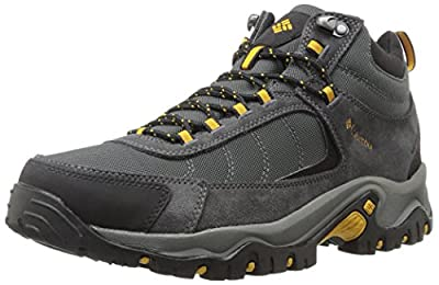 Columbia Men's Granite Ridge MID Waterproof Hiking Shoe, Dark Grey, Golden Yellow, 12 D US
