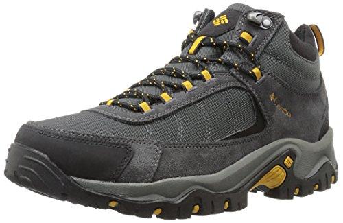Columbia Men's Granite Ridge Mid Waterproof Wide Hiking Shoe, Dark Grey, Golden Yellow, 10 2E US