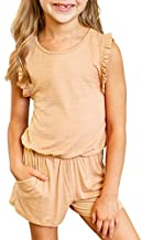 Dokotoo Girls Summer Casual Cute Romper Ruffle Sleeve Crew Neck Solid Stretchy Elastic Waist Shorts Jumpsuit with Side Pockets 2021 Size 4-5 Apricot