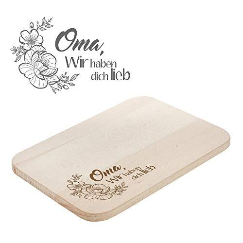 Casa Vivente Frühstücksbrettchen mit Gravur für Oma, Schneidebrett mit Blumen Motiv, Brotbrett aus hellem Holz als Muttertagsgeschenk