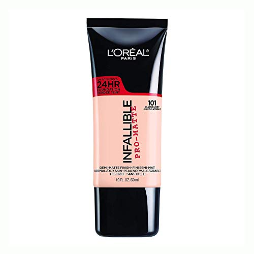 L'Oreal Paris Infallible Pro-Matte Liquid Longwear Foundation Makeup, 101 Classic Ivory, 1 fl. oz.