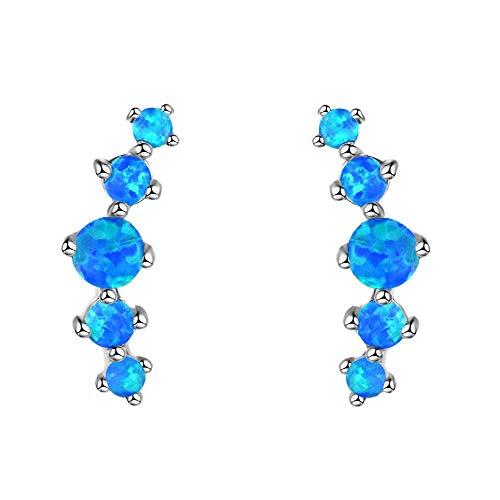 Purmy 925er Sterling Silber Frauen Tropfenohrringe mit Blauer Opal,Fünf Runde Form Damenstil