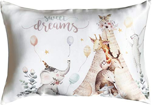 Toddler Pillowcase 100% Natural Silk - Soft, Kids Pillow Cover 13x18 - Skin and Hair Benefits (White, Animals)