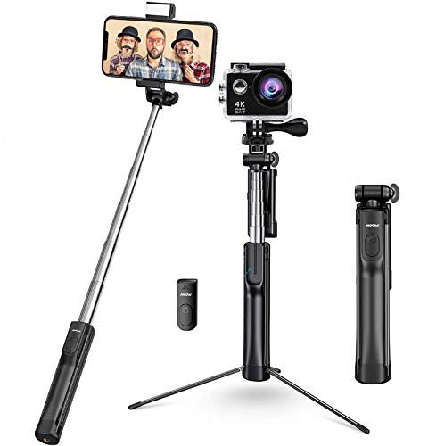 Mpow Selfie Stick Tripod, All in 1 Portable Extendable Selfie Stick with Bluetooth Remote & Fill Light, Compatible iPhone 12/12 PRO/11/11PRO/XS Max/XS/XR/X/8P/7P, Galaxy S20 Gopro/Small Camera, Black