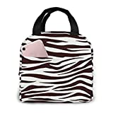 TTmom Metro Living Zebra Chocolate Kühltasche Lunch Tasche Picknicktasches for Women Men, Leakproof Thermal Reusable Lunch Box for Adult Kids, Lunch Cooler Tote for Office Work