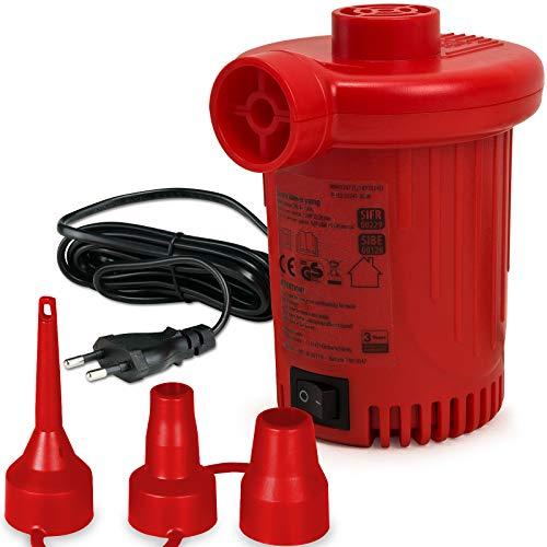 Monzana Elektrische Luftpumpe Elektropumpe inkl. 3 Aufsätze mit Netzstecker + Autoadapter 2 in 1 Luftmatratze Luftballon