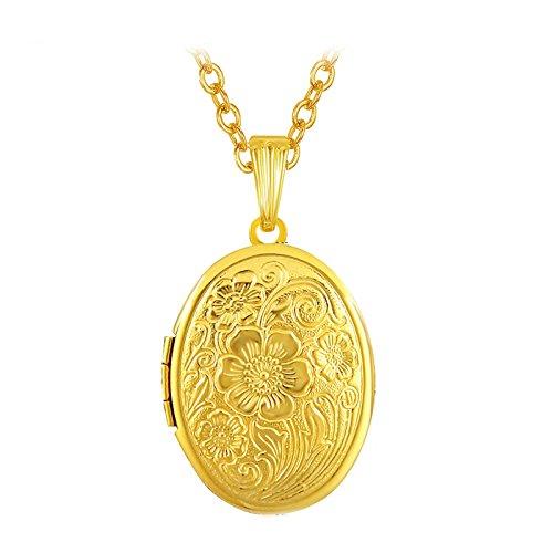 Beydodo Collana Placcato Oro Collana con Portafoto Locket Reticolo del Fiore Collana Medaglione Ovale Gioielleria Commemorativa