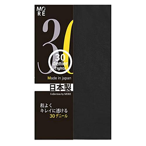 (モア)MOREレディース30デニールカラータイツ14色マチ付よく伸びるオーアイ日本製M-Lブラック
