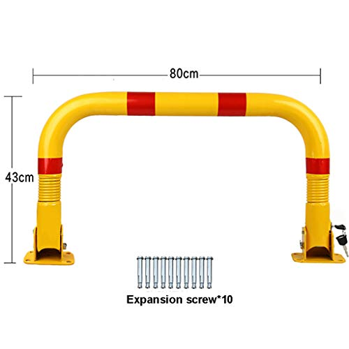 Extra Thick U-Shaped Parking Lock, Driveway Barrier Manual Folding Parking Barrier, Length 80cm, Large Footprint, with Built-in Lock or Padlock or Both