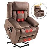 Mecor Power Lift Recliner Lift Chair for Elderly with Adjustable Headrest Massage Recliner Chair with Heating System for Living Room(Brown-1)