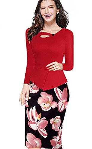 YALI Langärmeliges Kleid, Rundhalsausschnitt, bedruckt, schmal, rot, XXXL