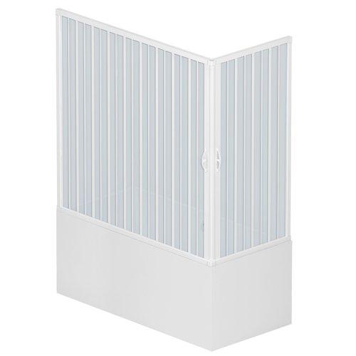 Rollplast BGAL1CONCC28170 Box Vasca a Soffietto, Dim.70 x 170 x H 150 cm, in PVC, Lati, Due Ante, con Apertura angolare, Bianco