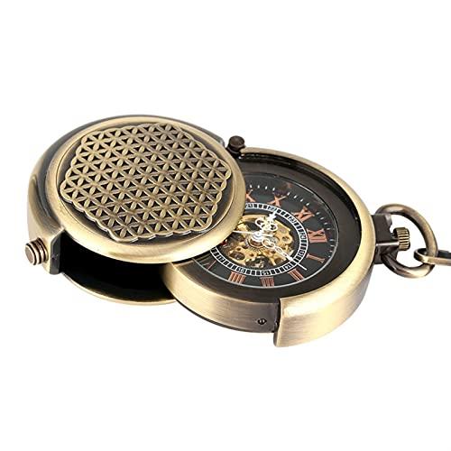 Reloj de bolsillo clásico Vintage Antigua cubierta hueca cubierta única Double TurnTable Funda Bobinado Mecánico Reloj de bolsillo Hombre Steam Bronce 30 cm Cadena Reloj de bolsillo Vintage Para Hombr