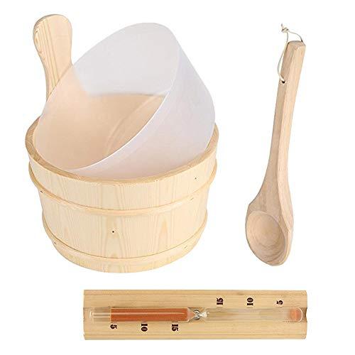 Haude 4 Teiliges Sauna Raum Zubeh?r Holz Fass Ausrüstung Sauna Raum Fass mit Holz L?ffel, Gefüttert mit Sand Uhr Timer