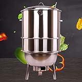 DJLOOKK Griglie per Barbecue, Combinazione Grill-Fumatori con griglia, Griglie per Barbecue a Carbone Staccabili Multistrato, Griglia per Barbecue Senza Fumo in Acciaio Inossidabile