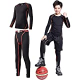 Tesuwel 2/3/4 Pcs Boys Girls Base Layer Athletic Compression Leggings and Shirts Thermal Underwear...