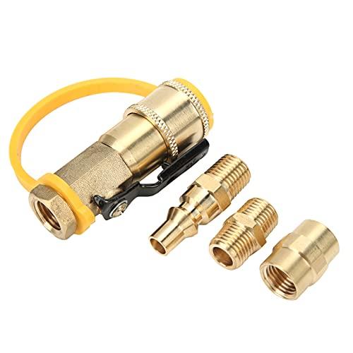 Pwshymi Adaptador de Gas de latón de 1/4 Pulgadas Adaptador de conexión rápida de propano NPT Adaptadores de Tanque de propano de latón con válvula de Cierre para RV Camper