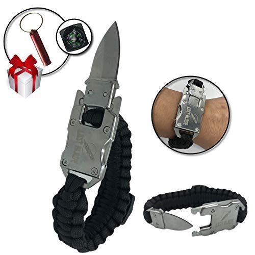 Bracelet de survie en paracorde + lame de couteau intégrée + Boussole – Acier inoxydable – Pratique – Qualité – Bracelet ajustable pour la randonnée, la pêche, la chasse, autres + Un sifflet en CADEAU