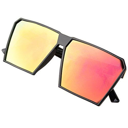 BLDEN Hombre Grande Gafas De Sol Marco Cuadrado Moda Oversized Gafas Unisexo GL1011-ORANGE