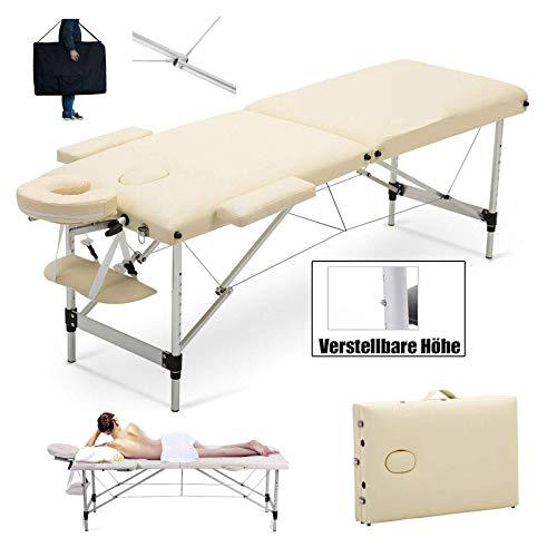 Massageliege Massagetisch Klappbar Massagebett 2 Zonen höhenverstellbaren Aluminum-Füßen und Premium-PU-Leder Einfache Installation mit Tragetasche (belastbar bis 230kg) -Beige
