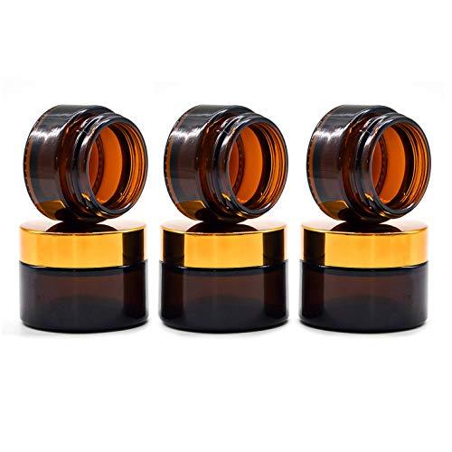 6 Piezas 30ml Tarros de Cristal de Ámbar con Tapa, Rellenables Botella de Pot Recipiente para Salve Crema Facial Loción Aromaterapia