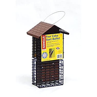 Stokes Select Four Cake Suet Buffet Bird Feeder with Metal Roof, Four Suet Capacity