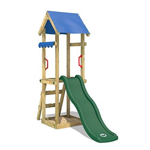 WICKEY Parque infantil de madera TinySpot con tobogán verde, Torre de escalada da exterior con...