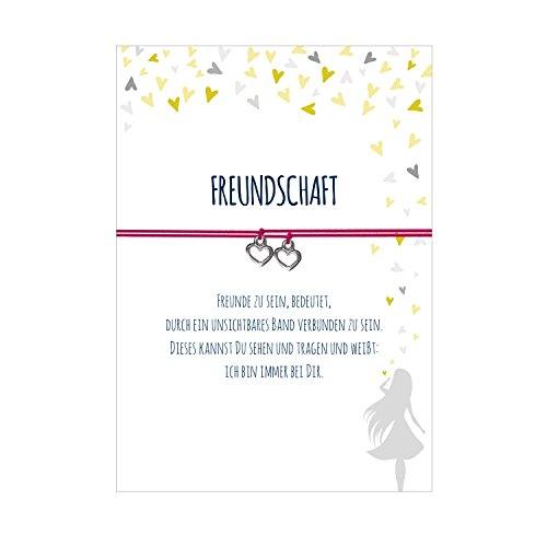 2 Armbänder im Set für 2 Freundinnen FREUNDSCHAFT mit 2 Herzanhängern, elastischem Textilband in pink und liebevoller Karte:Freunde zu sein, bedeutet, durch ein unsichtbares Band verbunden zu sein