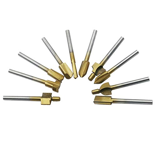 MagiDeal 10x HSS Titanium Router Bits Wood Cutter Milling Fit Rotary Engraving (Gold)