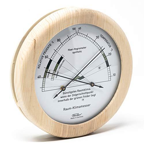 Fischer 1222-09 - Wohnklima-Hygrometer u. Raum-Thermometer - 130mm Echtholz-Luftfeuchtigkeitsmesser aus Made in Germany