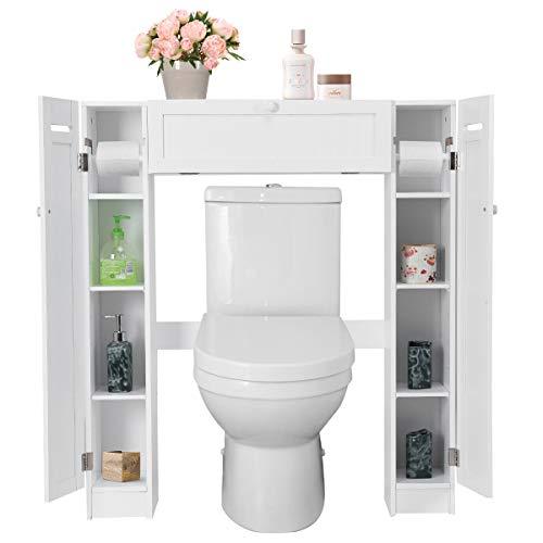 GOPLUS Etagère Dessus Toilette, Meuble de Salle de Bains, 4 Casiers des Deux Côtés, Support pour Porte Papier Toilette, 87 x 18 x 98CM, Blanche