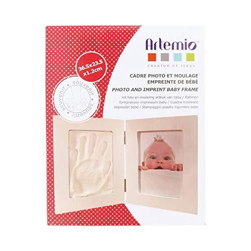 Artemio 13040006 Kit Moulage Empreinte de Bébé et Cadre Photo, Bois, Blanc, 19,5 x 3,5 x 24 cm