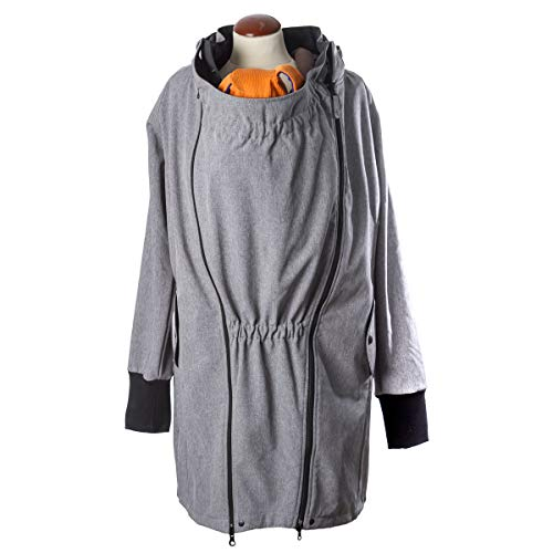 manduca by MaM Tragemantel > Softshell Light Coat Heather Grey < Umstands- & Tragejacke (Langjacke/Kurzmantel) 2x Babyeinsatz, winddicht & komplett gefüttert (Fleece), für alle Babytragen (grau, M)