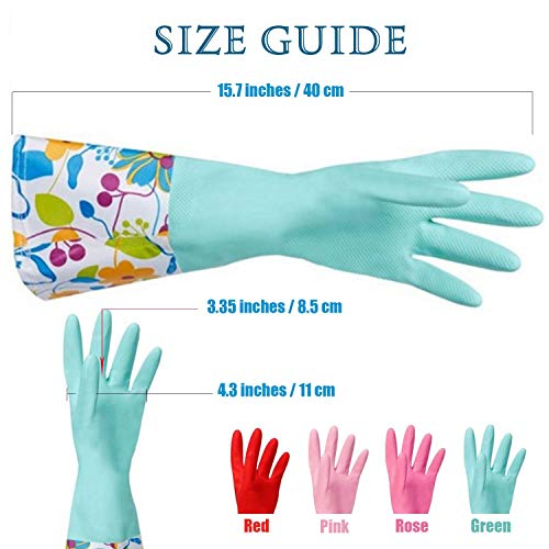 Product Image 5: Household Rubber Cleaning Dishwashing Latex Gloves Cotton Lining Warm Non-slip Kitchen Gloves (3-Pairs),Free get Cleaning Cloth (1-Pack) 3 P Lined