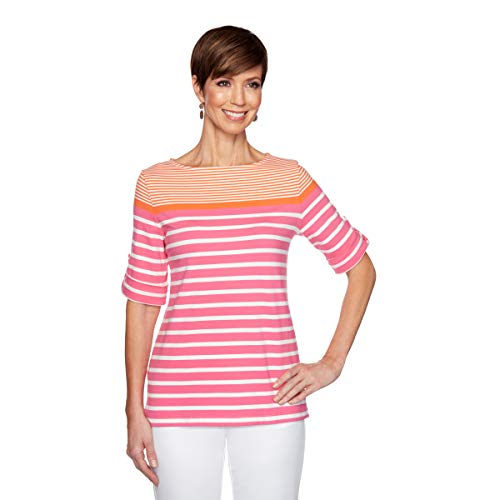 Ruby Rd. Women's Petite Striped Color Blocking Top, Orange Multi, PM