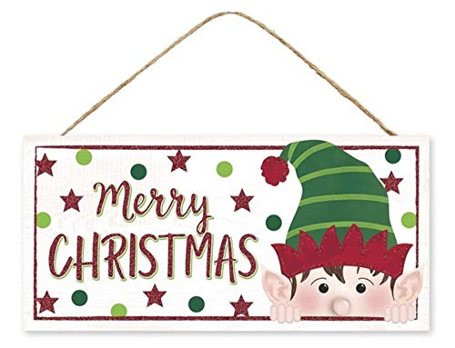 Craig Bachman, 12' Wooden Sign: Peeking Elf Face/White - Merry Christmas Elf Wood Wall Door Hanger Sign