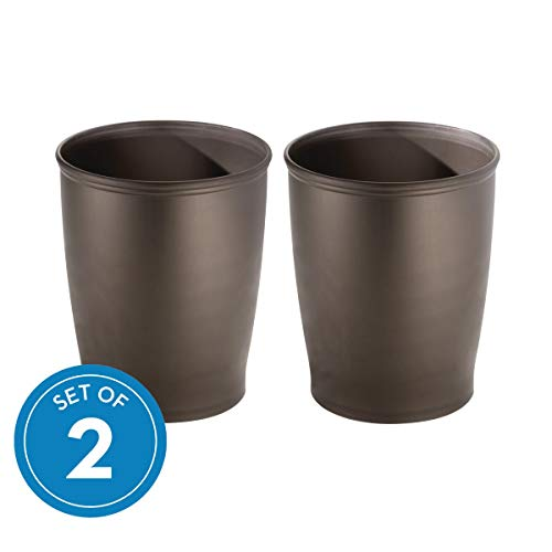 iDesign Kent Plastic Wastebasket Small Round Plastic Trash Can for Bathroom, Bedroom, Dorm, College, Office , Set of 2, Bronze