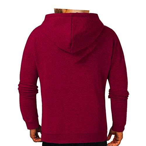 DNOQN Herren Mode Winter Langarm Reißverschluss Utility Sweatshirt Tops Bluse Rot XL