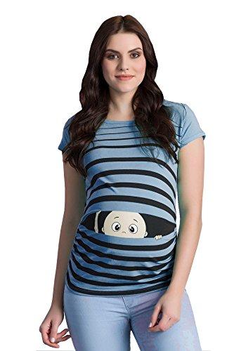 Ropa premamá Divertida y Adorable, Camiseta con Estampado, Regalo Durante el Embarazo - Manga Corta (Azul Celeste, Large)