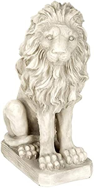 Design Toscano SH943 Mansfield Manor Lion Sentinel Statue Looking Right 21 Inches Antique Stone