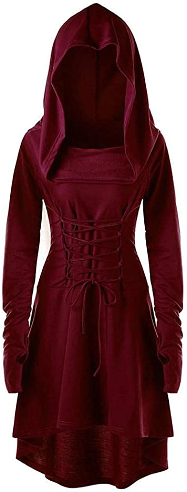 Aniwood Womens Hooded Plus Size Vintage Cloak High Low Sweater Blouse Tops Dress Solid Dress Pullovers Blouse Shirts Tops