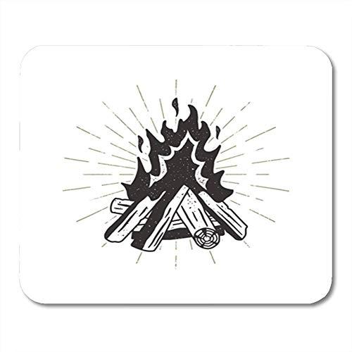 Mauspad Gummi Mini Rechteck Brennholz Lagerfeuer Sunbursts Camping Letterpress Alte Zeichnung Gaming Notebook Computer Zubehör Backing