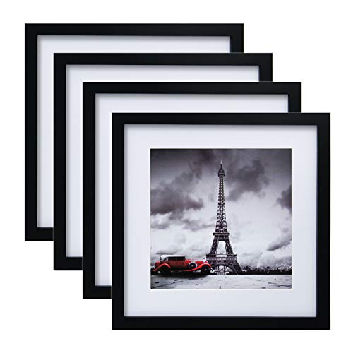 Egofine 11x11 Picture Frames 4 PCS, Made of Solid Wood for Pictures 4x4/8x8 with Mat for Table Top Display and Wall Mounting Square Photo Frame Black