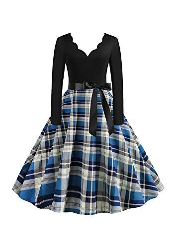 EFOFEI Vestido de mujer para Navidad, Halloween, fiesta, manga larga, línea A, falda grande, vestido de cóctel, fiesta, festival, carnaval y vestido con lazo Vg-azul blanco XL