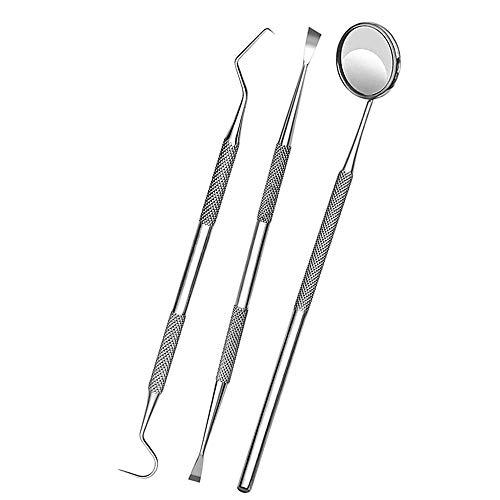 Raanks Dental Tools Kit Tooth Scaler and Scraper Double Headed Plaque Tarter Remover Tweezers (Pet Friendly) Teeth Cleaning Kit Dental Instruments (3P Set)