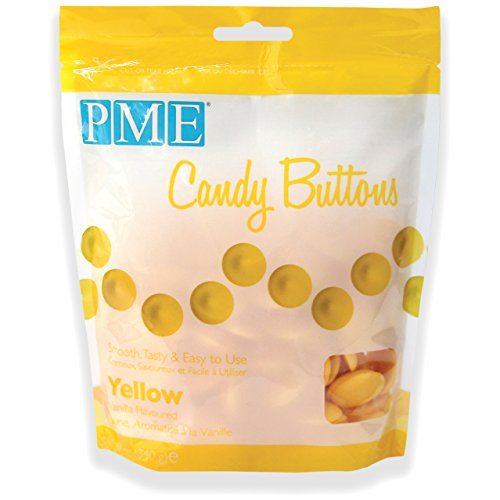 PME Candy Buttons - Yellow . 340 grams / 12 Oz. Like Wilton Melts. Perfect for Cake Pops and other Candy & Chocolate Making by The Baker Shop